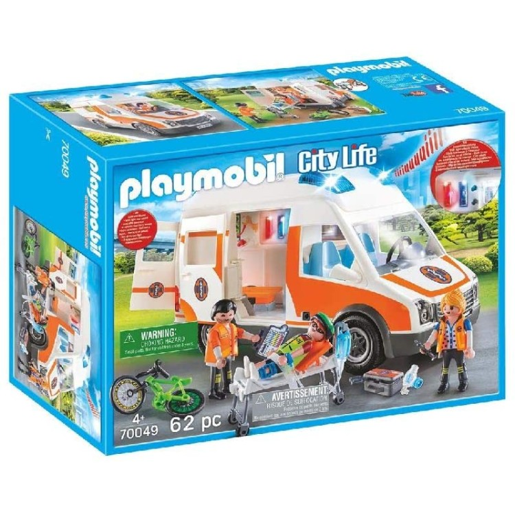 Playmobil City Life Ambulance with Flashing Lights - 70049